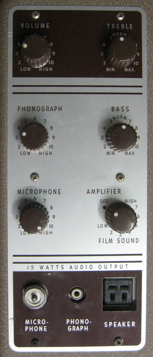 kodak pageant film projector audio control panel