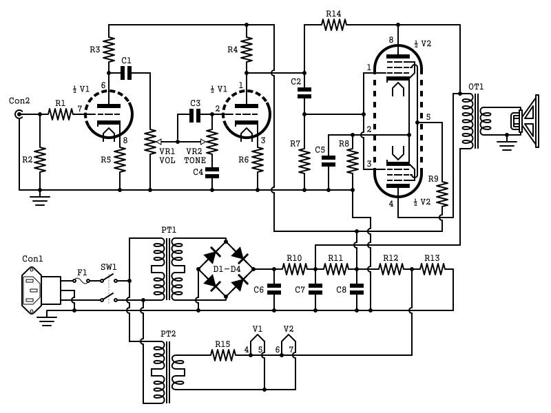 electric guitar amplifier 2w schematic 2w tube guitar amp schematic High-End Tube Amp Schematics at alyssarenee.co