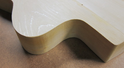 guitar body contour with smooth and square edge photo