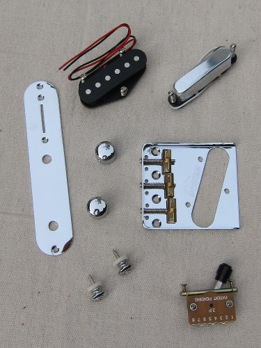 Some of the hardware used for the mini Telecaster